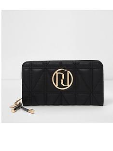 river-island-river-island-black-quilted-zip-around-purse