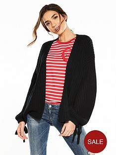 v-by-very-tie-cuff-blouson-sleeve-fisherman-rib-cardigan