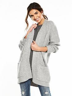v-by-very-twist-detail-rib-chunky-cardigan-grey-marl