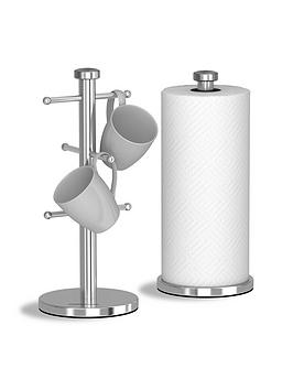 morphy-richards-accents-mug-tree-and-towel-pole-set-ndash-stainless-steel