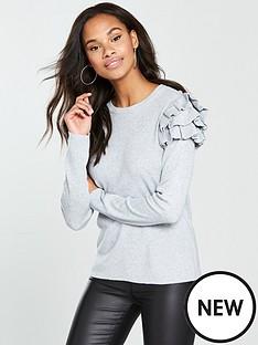 v-by-very-tiered-frill-shoulder-jumper-grey-marl
