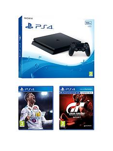 playstation-4-slim-500gbnbspblack-console-with-fifa-18-and-gt-sport-plus-optional-extra-controller-andor-12-months-playstation-network
