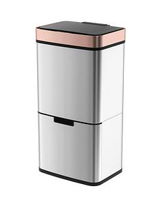 morphy-richards-pro-75l-sensor-bin-with-2-recycle-bins-stainless-steel-with-rose-gold