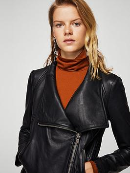 Outlet 100 Original Cheap Newest Black Leather  Jacket Mango Store Online Buy Cheap Price 6EAFn