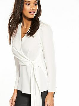Clearance Visit Online Store Island Ivory River Neck Wrap Top V bs6UO