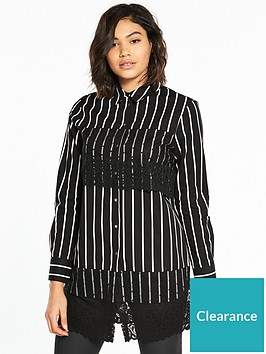 river-island-river-island-lace-panel-shirt--black-stripe