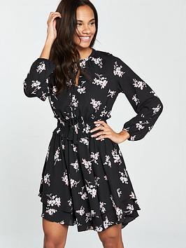 Tie Double by V Layer Very Neck Skater Dress All Seasons Available v4eQcf