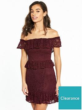 miss-selfridge-petite-lace-bardot-dress