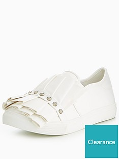 99abfb74fdae Lost Ink Ruffle And Stud Wide Fit Slip On Trainer