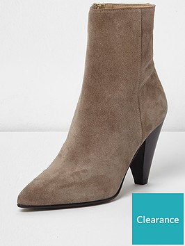 river-island-river-island-suede-pointed-cone-heel-ankle-boots--dark-beige