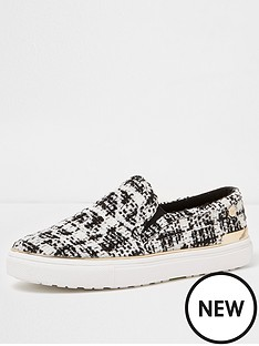 river-island-river-island-textured-dogtooth-plimsolls--black