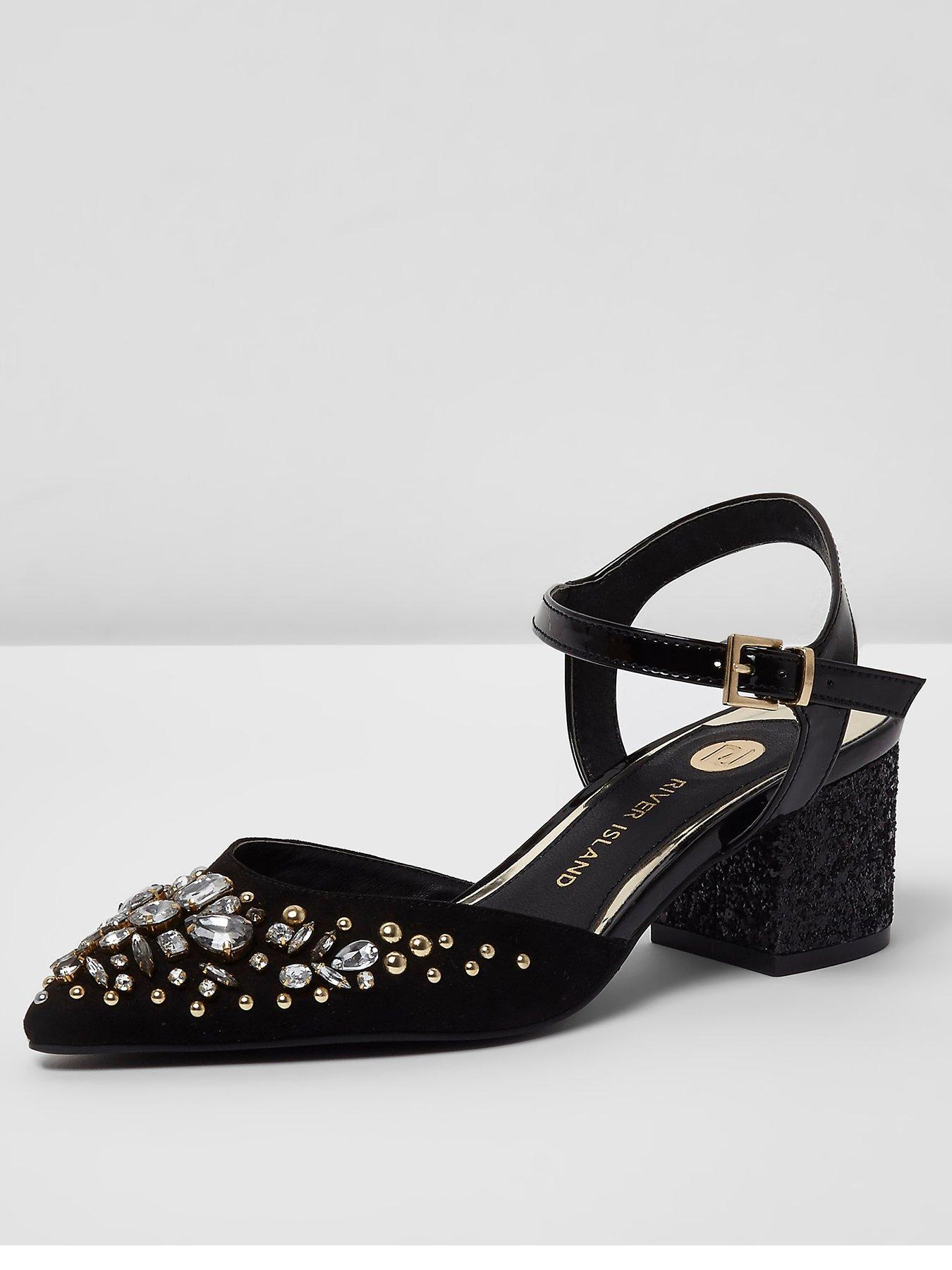 River Island River Island Embellished Pointed Block Heel Sandal Black 1600220706 Women's Shoes River Island Heels