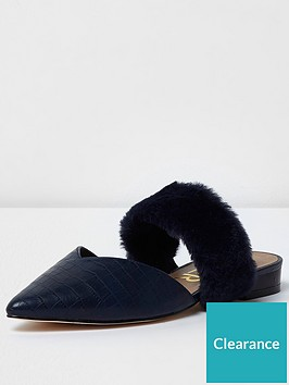 river-island-river-island-croc-faux-fur-strap-pointed-mules--navy