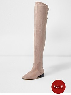river-island-river-island-faux-suede-over-the-knee-boots--light-beige