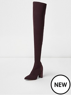 river-island-river-island-knitted-over-the-knee-boots--dark-red