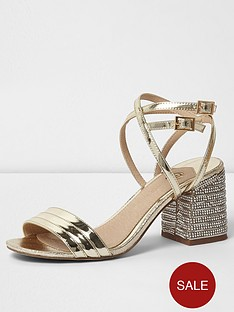 River Island Metallic Diamante Block Heel Sandal Gold
