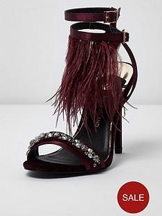 river-island-river-island-feather-embellished-sandals--dark-red
