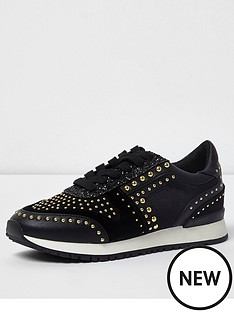 river-island-studded-trainers--black
