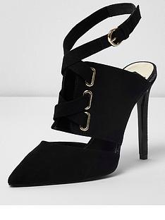 River Island Tie Up Court Shoes Black