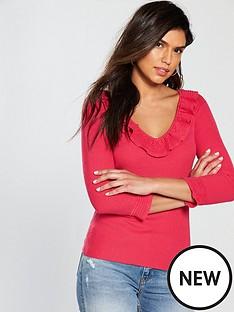 v-by-very-pointelle-frill-detail-collar-v-neck-jumper-ndash-raspberry-pink