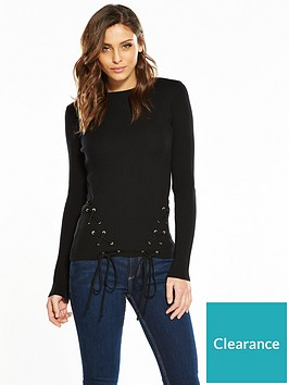 v-by-very-eyelet-lace-up-hem-skinny-rib-jumper-black