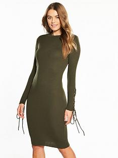 v-by-very-eyelet-lace-up-sleeve-skinny-rib-knitted-dress