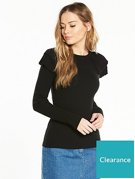 v-by-very-pleat-shoulder-skinny-rib-jumper-black