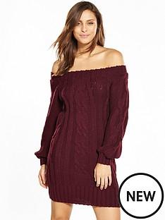 miss-selfridge-cable-knit-bardot-dress-burgundy