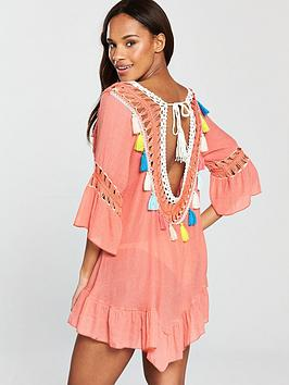 Outlet Many Kinds Of South Dress  Peach Crochet Beach Beach Low Back Tassel Online Cheapest  Low Shipping Fee Cheap Online Visa Payment Cheap Online kD7NZia