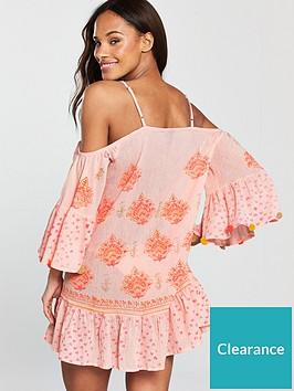 4c491e4d34 South Beach Cold Shoulder Printed Beach Dress With Pom Pom Sleeve Trim -  Pink
