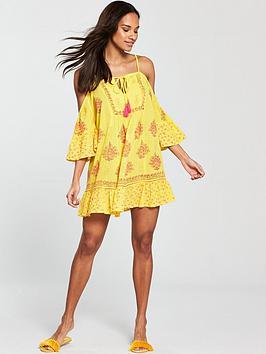 Printed Shoulder Cold South Yellow Dress Beach Beach  Cheap Sale Shopping Online Clearance Cheap Lowest Price Cheap Nicekicks 47UrhAIJ