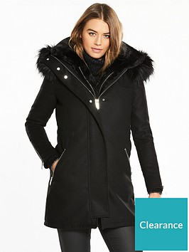 river-island-river-island-faux-fur-3-in-1-gilet-lined-parka-coat--black