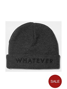 river-island-river-island-boys-039whatever039-slogan-beanie