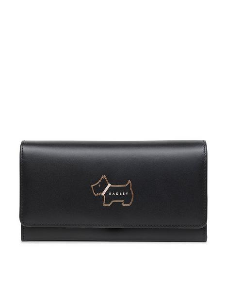 radley-heritage-dog-outline-leather-large-flapover-matinee-purse-black