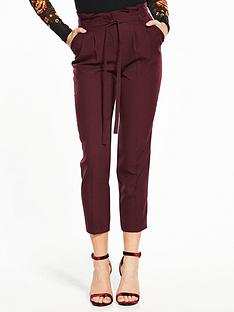 miss-selfridge-paper-bag-trouser-burgundy