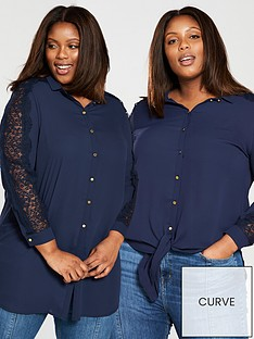 v-by-very-curve-knot-lace-insert-longline-blouse-navy