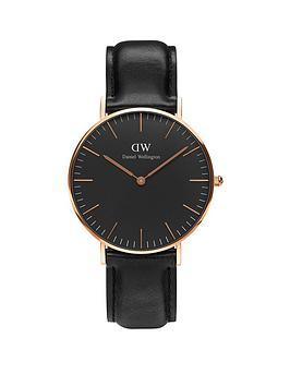 0c7ae0140bf7 Daniel Wellington Black Sheffield Rose Gold Black Leather Strap Unisex Watch