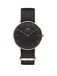 daniel-wellington-black-cornwall-rose-gold-36mmnbspcase-black-natonbspstrap-unisex-watch