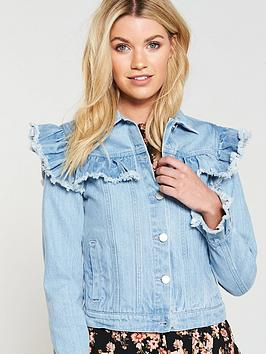 nbsp Ruffle Very Jacket V Blue by Denim Outlet 100 Authentic Best Store To Get Online Purchase Online oJl0A9Xx