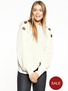 v-by-very-boat-neck-button-detail-blouson-sleeve-rib-jumper-cream