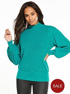 v-by-very-textured-stitch-blouson-sleeve-jumper