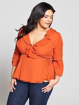 Buy Cheap Best Store To Get Curve by Wrap Detail Very V Blouse Sleeve Ruffle Best Sale Cheap Online Sale Big Sale fN6Ir8gs
