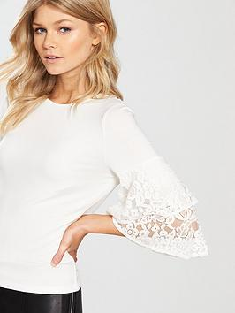 Cheap Websites Ruffle Top Crochet by V Sleeve nbsp Very Petite Free Shipping Sale Online New Arrival Online Hot Sale For Sale bSaZ7J