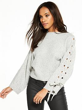 Island Lace Boxy River Up Jumper Grey Clearance Low Shipping Order Online Best Place To Buy Sexy Sport z6JT3w