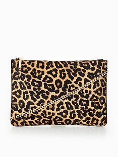 V By Very Leather Leopard Clutch Bag