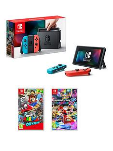 nintendo-switch-neon-red-blue-console-with-super-mario-odyssey-and-mario-kart-8