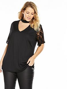 v-by-very-curve-lace-sleeve-choker-top