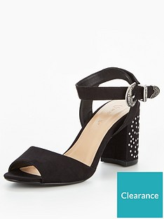 e440de7ffbbd3 V by Very Roxy Western Studded Block Heel Sandal - Black