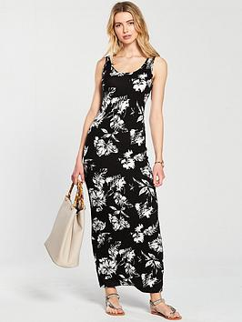 Scoop Jersey Very Mono Print  Dress by Neck V Maxi Largest Supplier Free Shipping Collections Best Place For Cheap Discount 5yw1ZF17Ia