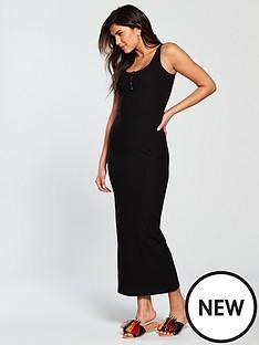 v-by-very-rib-popper-front-maxi-dress